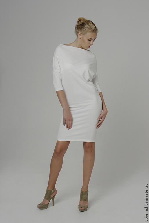 Платье трансформер Ромб с рукавами женское MustHave из джерси вискоза хлопок белое, платье длиной до колен свободного кроя, платье комфортное, удобное, платье на каждый день