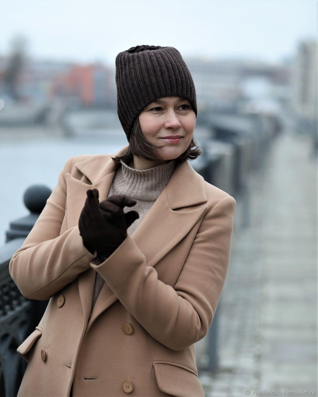 Шапка стильная вязаная резинкой Графика коричневая, Шапки, Москва,  Фото №1