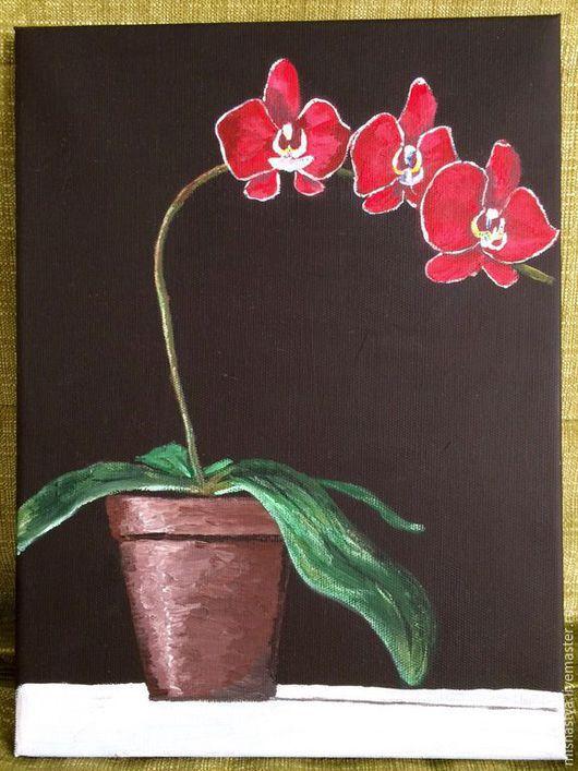 Картины цветов ручной работы. Ярмарка Мастеров - ручная работа. Купить Орхидеи. Handmade. Черный, хлопок