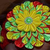 Диадемы ручной работы. Ярмарка Мастеров - ручная работа Радужная повязка, повязка в стиле канзаши, цветок канзаши. Handmade.
