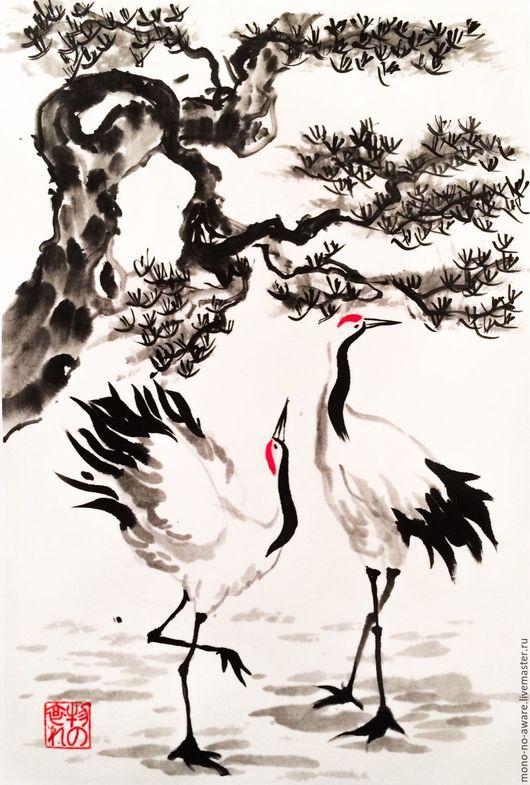 """Животные ручной работы. Ярмарка Мастеров - ручная работа. Купить Картина в технике суми-э """"Журавли"""". Handmade. Журавль, журавли"""