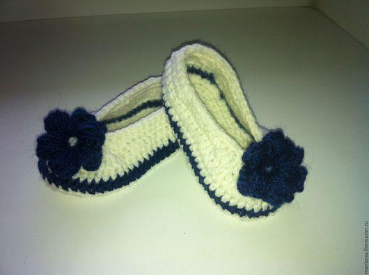 Детская обувь ручной работы. Ярмарка Мастеров - ручная работа. Купить Пинетки-туфельки. Handmade. Белый, Вязание крючком, туфельки