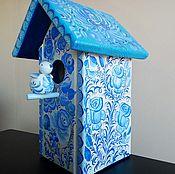 Для дома и интерьера handmade. Livemaster - original item A birdhouse with a bird Gzhel. Handmade.