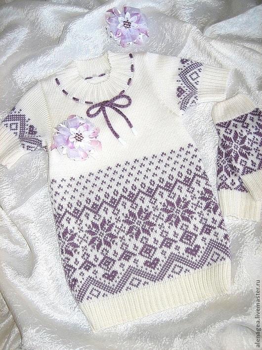 """Одежда для девочек, ручной работы. Ярмарка Мастеров - ручная работа. Купить Платье """"Снежок"""". Handmade. Вязаное платье, снежок"""