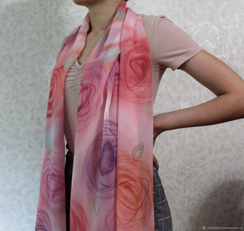 Cream roses, chiffon scarf, 180h75 cm, free painting, Scarves, Novosibirsk,  Фото №1