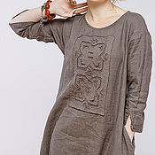 Одежда ручной работы. Ярмарка Мастеров - ручная работа Бохо платье 4-19 умбра. Handmade.