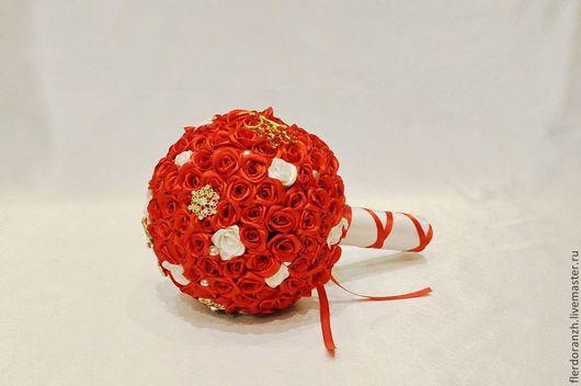 Свадебные цветы ручной работы. Ярмарка Мастеров - ручная работа. Купить Свадебный брошь- букет. Handmade. Ярко-красный