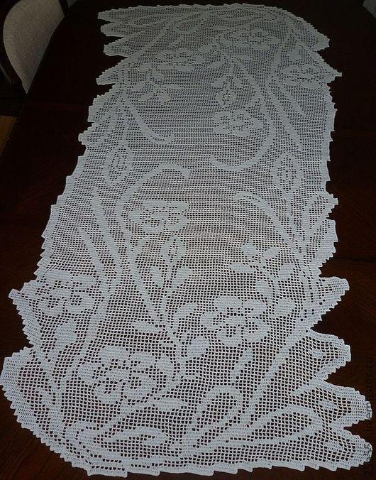 """Текстиль, ковры ручной работы. Ярмарка Мастеров - ручная работа. Купить Дорожка """"Цветочные побеги"""". Handmade. Белый, скатерть крючком"""