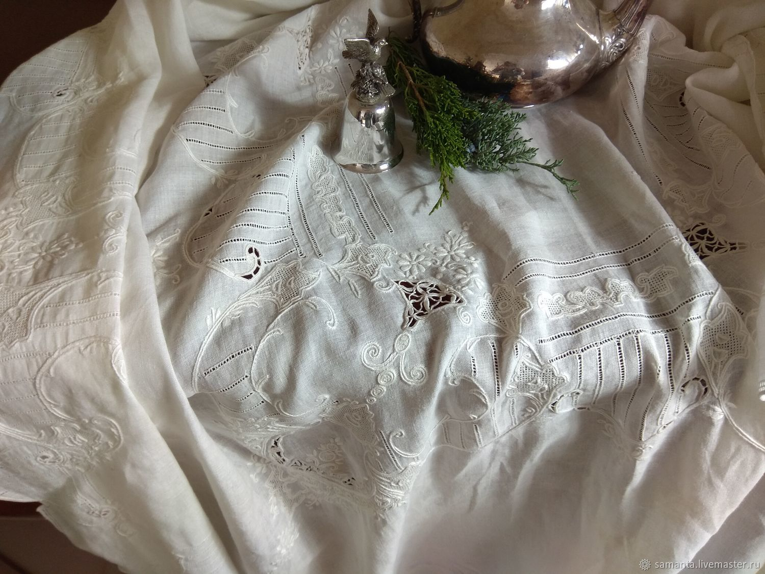 Order Antique Large Tablecloth U0027Italian Styleu0027. Vintage Lace And ...