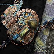 """Украшения ручной работы. Ярмарка Мастеров - ручная работа """"De Sterrennacht"""" колье медь, вышивка. Handmade."""