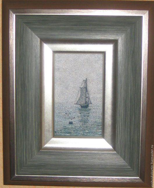 """Пейзаж ручной работы. Ярмарка Мастеров - ручная работа. Купить Картина """"Море с парусным кораблем"""". Handmade. Голубой, картина в подарок"""