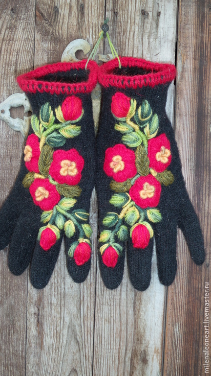 Варежки, митенки, перчатки ручной работы. Ярмарка Мастеров - ручная работа. Купить Перчатки с вышивкой Цветы Алые. Handmade. Цветочный