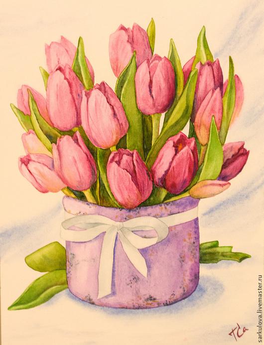 Картины цветов ручной работы. Ярмарка Мастеров - ручная работа. Купить Картина акварелью Розовые тюльпаны. Handmade. Розовый