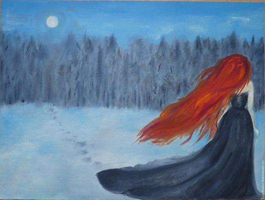 """Фантазийные сюжеты ручной работы. Ярмарка Мастеров - ручная работа. Купить Картина """"Таинственный лес"""" (рыжая фея). Handmade. Рыжий"""