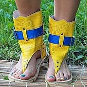 Обувь ручной работы handmade. Livemaster - original item High sandals in Yellow textured leather Croco blue. Handmade.