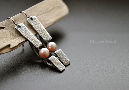 Серьги ручной работы. Ярмарка Мастеров - ручная работа. Купить Eclipse - серебряные серьги с жемчугом (серебро 925). Handmade. Бежевый