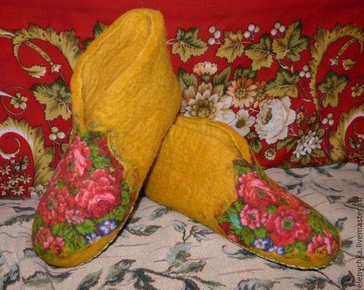 """Обувь ручной работы. Ярмарка Мастеров - ручная работа. Купить Войлочные тапочки """"Жара, июль..."""". Handmade. Желтый"""