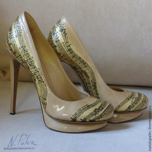 """Обувь ручной работы. Ярмарка Мастеров - ручная работа. Купить Роспись по обуви. Лаковые туфли """"Риголетто"""". Handmade. Бежевый, гламур"""