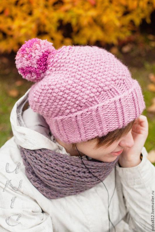 Шапка, шапка вязаная, шапка женская, розовый, пыльная роза, нежный розовый, купить шапку, комплект шапка шарф, вязаный комплект, шапка с помпоном, модная шапка, подарок девушке