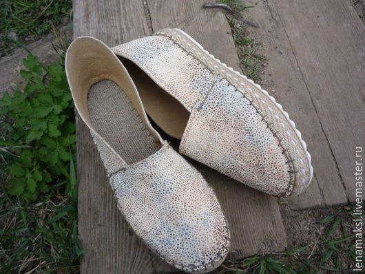 """Обувь ручной работы. Ярмарка Мастеров - ручная работа. Купить Эспадрильи """"Росинки"""" из натуральной кожи.. Handmade. Бежевый, Обувь из кожи"""