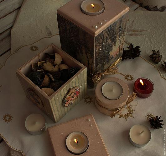 Новый год 2017 ручной работы. Ярмарка Мастеров - ручная работа. Купить набор подсвечников ЯНВАРСКОЕ УТРО + 3 свечи в подарок. Handmade.