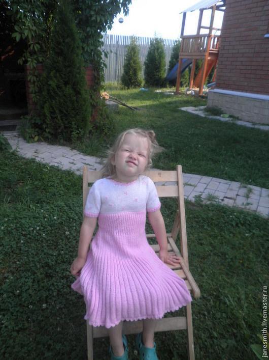 Одежда для девочек, ручной работы. Ярмарка Мастеров - ручная работа. Купить вязаное детское платье. Handmade. Бледно-розовый