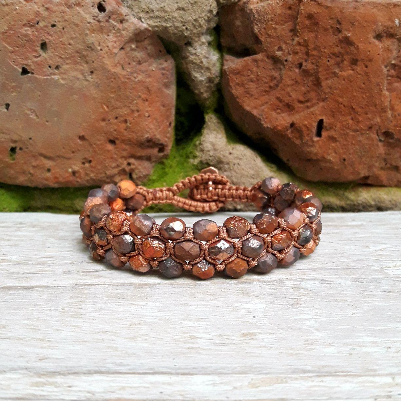 'Coals' Czech glass. Bracelet braided, Braided bracelet, Moscow,  Фото №1