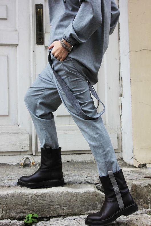 R0041A Брюки серые брюки модные брюки дизайнерские брюки женская одежда свободные брюки стильные брюки шерстяные брюки свободные брюки на резинке элегантные брюки штаны с мотней дизайнерские брюки