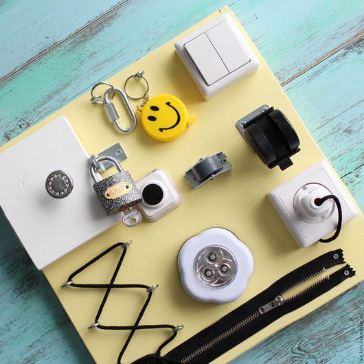 Развивающие игрушки ручной работы. Ярмарка Мастеров - ручная работа. Купить Бизиборд мини Желтый. Handmade. Бизиборд, развивающая доска