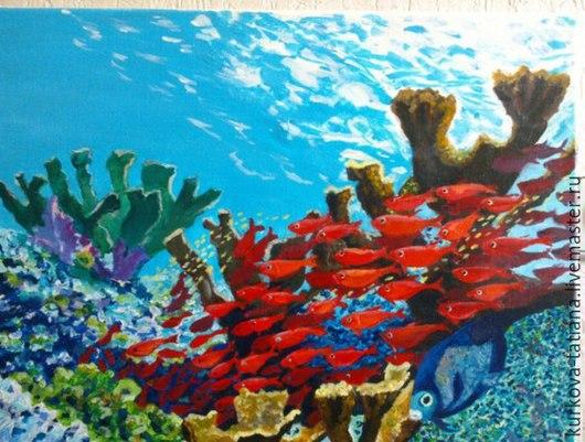 Пейзаж ручной работы. Ярмарка Мастеров - ручная работа. Купить Картина Морской пейзаж.  Подводный мир. Handmade. Разноцветный