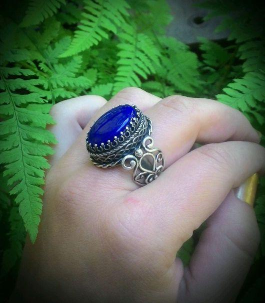 """Кольца ручной работы. Ярмарка Мастеров - ручная работа. Купить Кольцо """"Лазуритовый Замок"""" серебро,лазурит. Handmade. Синий"""