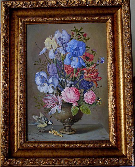Натюрморт ручной работы. Ярмарка Мастеров - ручная работа. Купить натюрморт с ирисами, розами и тюльпанами. Handmade. Натюрморт с цветами, натюрморт