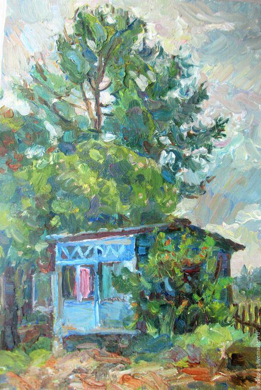 `Ветреный день`-  живописный этюд с натуры; холст, масло.
