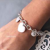 Украшения handmade. Livemaster - original item Bracelet White Heart jadeite necklace with pendants. Handmade.