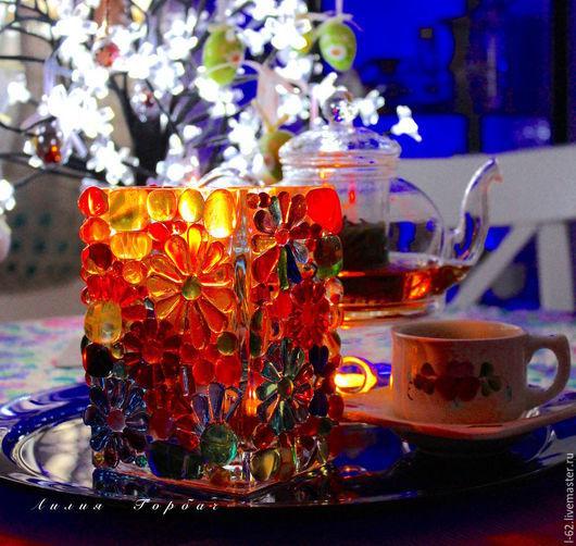 Подсвечники ручной работы. Ярмарка Мастеров - ручная работа. Купить подсвечник из стекла, фьюзинг  Цветное счастье. Handmade. Разноцветный, ночь
