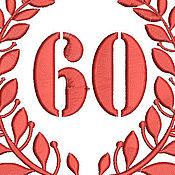 Иллюстрации ручной работы. Ярмарка Мастеров - ручная работа лавровый венок  дизайн машинной вышивки - 60 летний юбилей. Handmade.