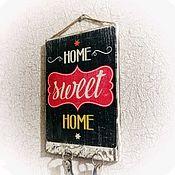 Ключницы ручной работы. Ярмарка Мастеров - ручная работа Ключница  Sweet Home деревянное панно стиль лофт. Handmade.