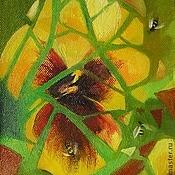 """Картины и панно ручной работы. Ярмарка Мастеров - ручная работа Картина-миниатюра """"Желтый цветок с фрагментом"""". Handmade."""