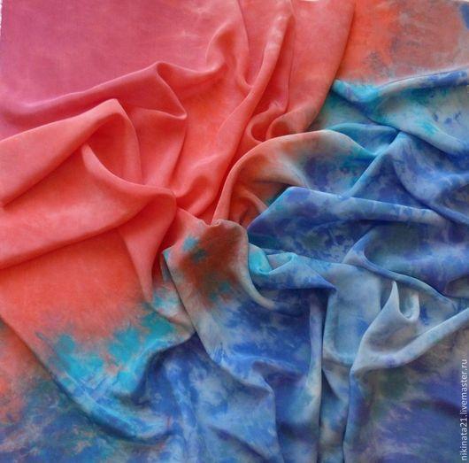 """Шали, палантины ручной работы. Ярмарка Мастеров - ручная работа. Купить Платок """"Контраст"""" крепдешин, шибори. Handmade. Разноцветный, Батик"""