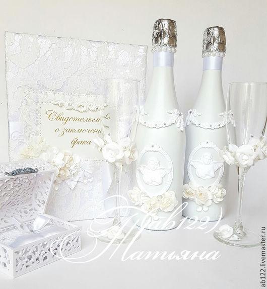 Свадебные аксессуары ручной работы. Ярмарка Мастеров - ручная работа. Купить Свадебный набор классика белая. Handmade. Белый