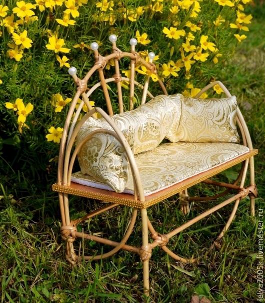 Кукольный дом ручной работы. Ярмарка Мастеров - ручная работа. Купить садовый диванчик. Handmade. Мебель для кукол
