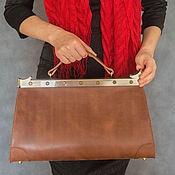 """Сумки и аксессуары ручной работы. Ярмарка Мастеров - ручная работа Саквояж кожаный коричневый """"LATTE"""". Handmade."""