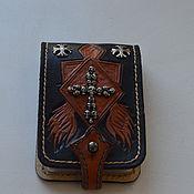 Сумки и аксессуары handmade. Livemaster - original item business card holder made of genuine leather with skull. Handmade.