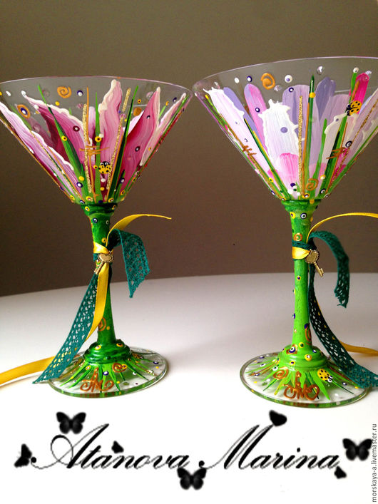 Праздничная атрибутика ручной работы. Ярмарка Мастеров - ручная работа. Купить Волшебные цветы. Handmade. Комбинированный, бокалы на свадьбу