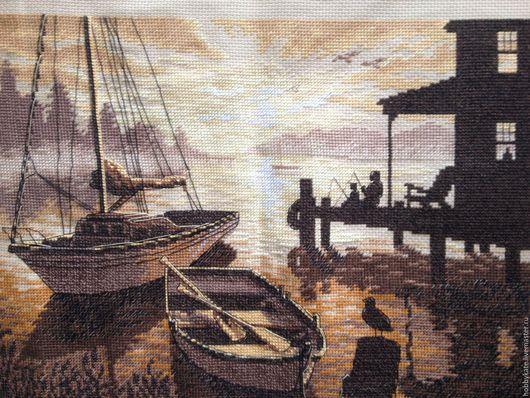 Пейзаж ручной работы. Ярмарка Мастеров - ручная работа. Купить Восход. Handmade. Коричневый, Вышивка крестом, пейзаж, море