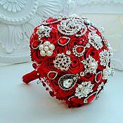 Свадебный салон handmade. Livemaster - original item De color rojo brillante broche ramo de