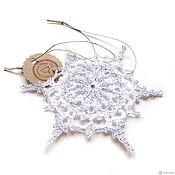 Сувениры и подарки handmade. Livemaster - original item Snowflake 12 cm volume white with silver knitted. Handmade.