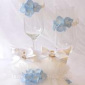 """Свадебный салон ручной работы. Ярмарка Мастеров - ручная работа Свадебный набор  Фужеры """" Blue dreams"""". Handmade."""