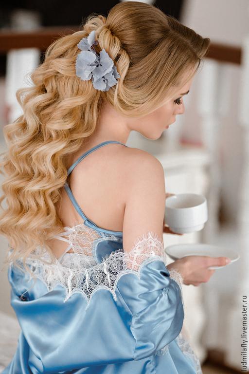 `Утро в Париже` - небесно голубой пеньюар с кружевом шантильи. Новая коллекция свадебных пеньюаров от Mila Manina (Людмила Манина).