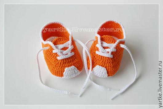 Для новорожденных, ручной работы. Ярмарка Мастеров - ручная работа. Купить Пинетки кроссовки. Handmade. Комбинированный, кроссовки, носочки вязаные